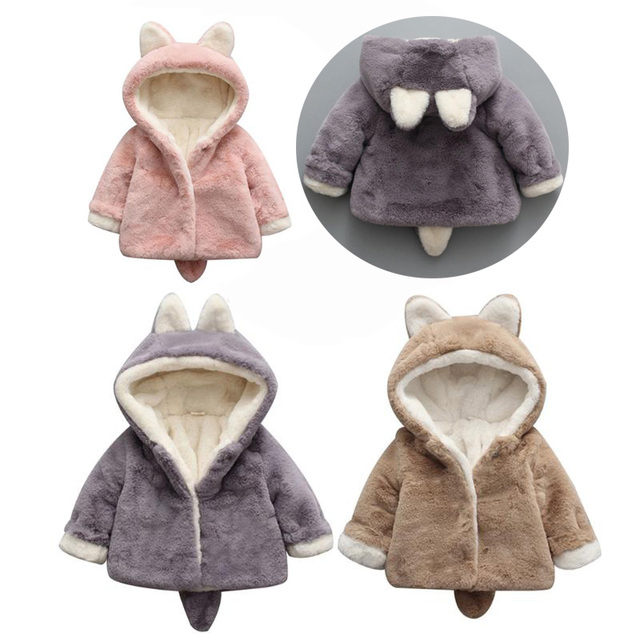 6a7dbcdff US $14.95 32% OFF|Aliexpress.com : Buy Newborn Baby Girls Clothes Winter  Jackets Warm Faux Fur Fleece Coat Children Jacket Rabbit Ear Hooded  Outerwear ...