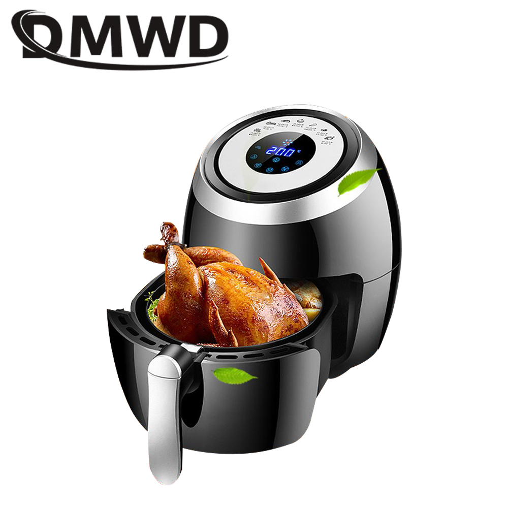 DMWD Automatic Electric Deep Fryer Oil Free French Fries Frying Machine Smokeless Multifunctional Chicken Fried Fish Roast Grill ...