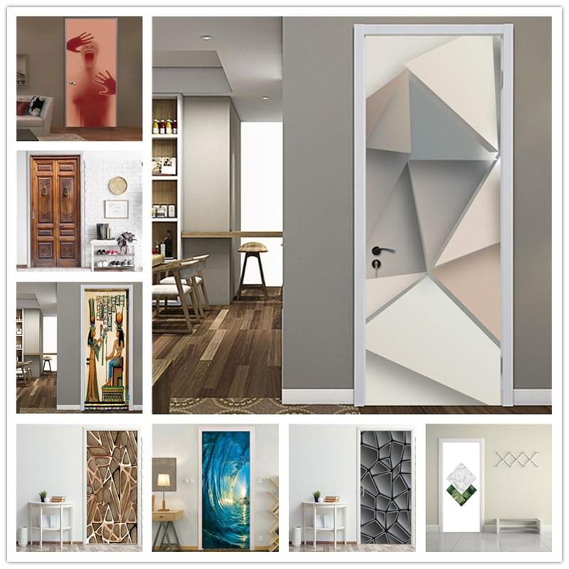 Multiple Styles Door Sticker Of 3D DIY Self-adhesive PVC Waterproof Wallpaper Home Design Decor Living Room Bedroom Mural Decals
