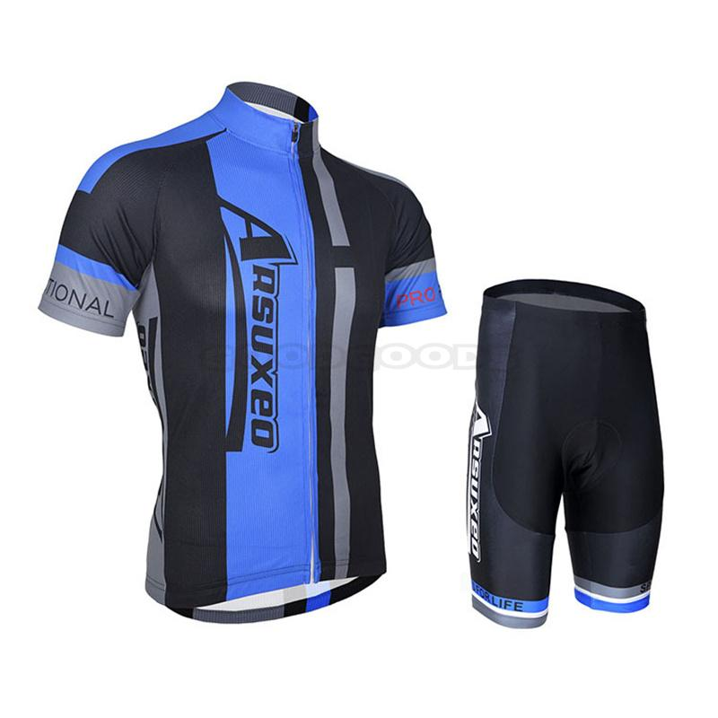 03e623b03 ARSUXEO Men s Outdoor Bike Bicycle Cycling Cycle Clothing Sportswear Suit  Short Sleeves Jersey + 3D Coolmax Padded Shorts Set-in Cycling Sets from  Sports ...