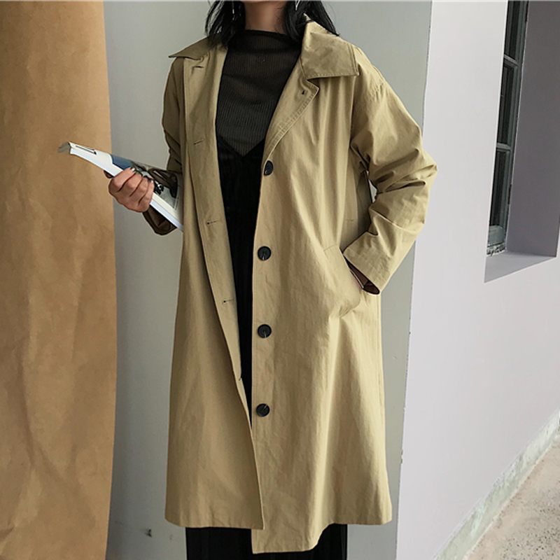 Women Single Breasted V-Neck Long   Trench   2018 Mujer Fashion Loose Full Sleeve Coats Lady Casual Solid Wide-waisted   Trench   Coats