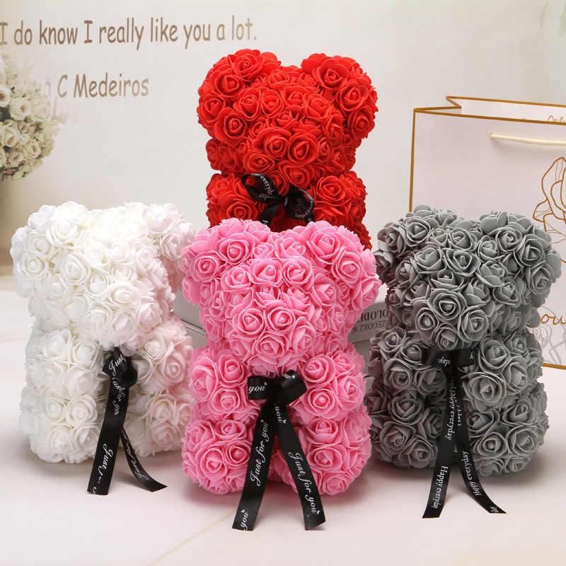 Contenitore di Regalo di san valentino Romantico PE Rosa Orso Artificiale Decorazioni Rosa Cute Cartoon Fidanzata Regalo Del Capretto