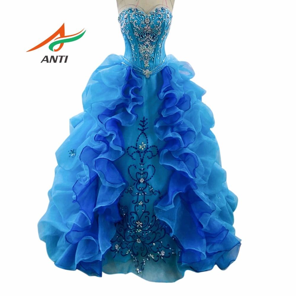 ANTI Puffy Princess Популярные платья Debutante Royal Blue Платья Quinceanera Дешевые платья Quinceanera Sweet 16 Платья на 15 лет