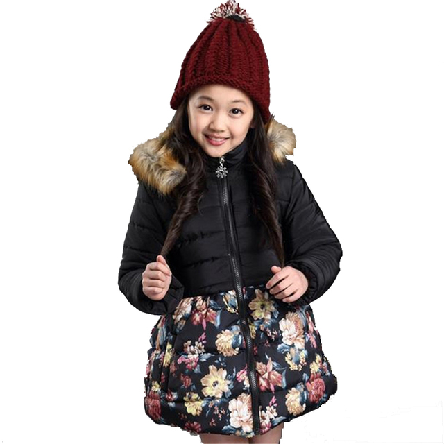 Girls Winter Coat New 2016 Brand Plus Thick Velvet Floral Padded-Cotton Fashion Fur Collar Hooded Long Jacket Children Clothing
