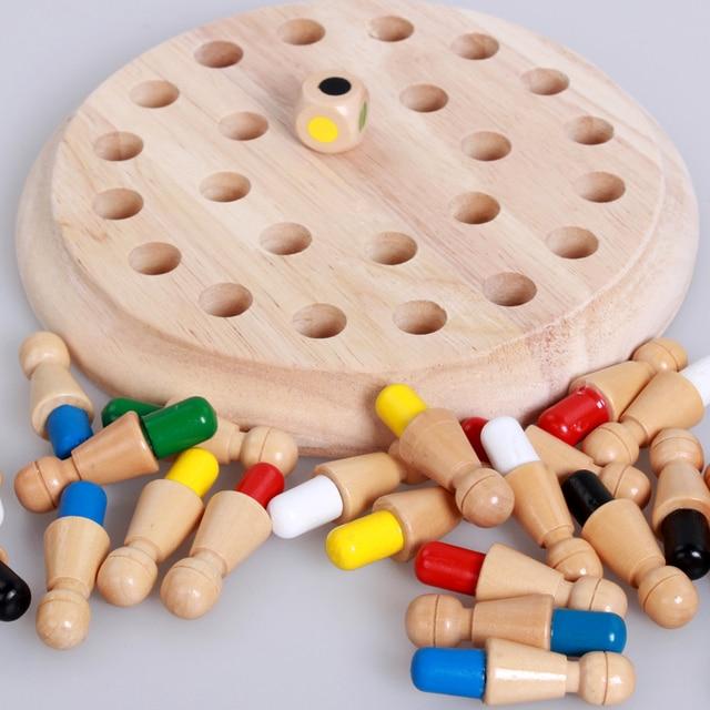 I bambini del partito di gioco di Legno di Memoria Partita Bastone di Gioco di Scacchi Divertimento a Bordo di Blocco Gioco Educativo di Colore Capacità Cognitive Giocattolo per I Bambini 5