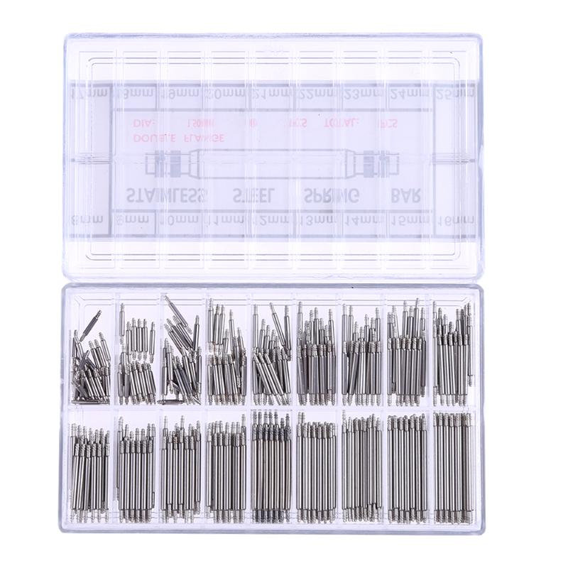 цена на 360pcs Watchmaker Watch Tools 8-25mm Stainless Steel Band Clock Spring Bars Strap Link Pins Watch Repair Tool Kit