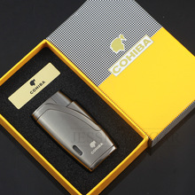 COHIBA Metal Cigar Lighter 1 Jet Torch Lighter Refillable Butan Gas Lighters Windproof Cigarettändare Med Cigar Cutter