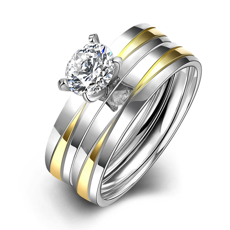 Tgr066 Stainless Steel Wedding Ring Set Gold Color Double Band For Men Women With Large Stones Fashion Jewelry In Bands From