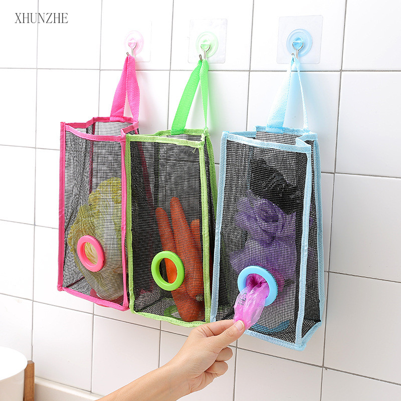 Breathable Nylon Garbage Rubbish Bags Hanging Kitchen Packing Trash Can Household Cleaning Tool Shang Bag to Collect Bag of Bag