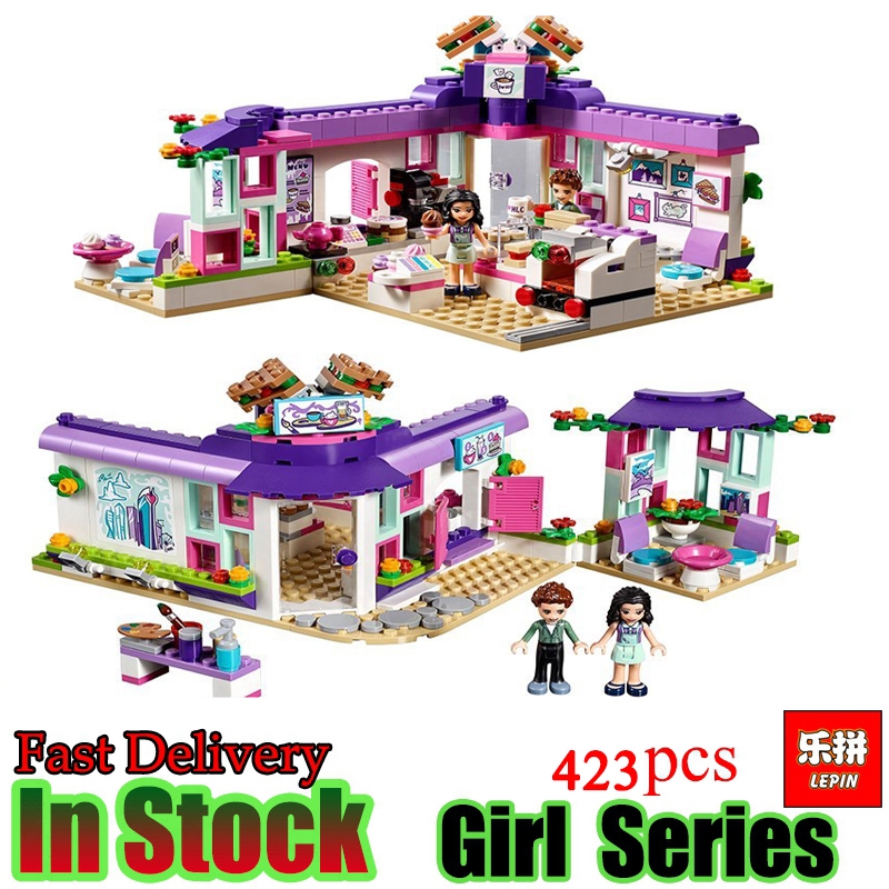 Lepin Girl Friends 01060  423Pcs Emma's Art Cafe Heartlake City Park Building Block Bricks Toys For Kids Gifts Compatible 41336 10162 friends city park cafe building blocks bricks toys girl game toys for children house gift compatible with lego gift