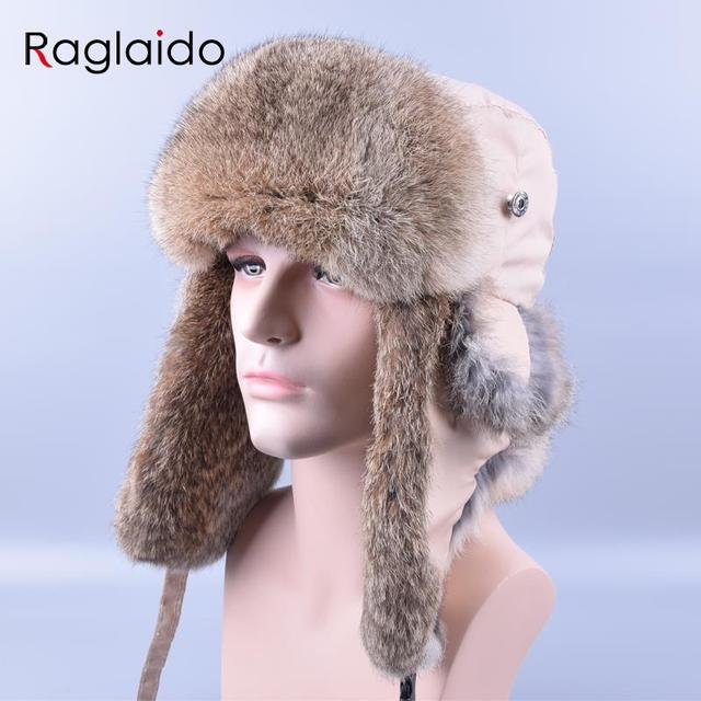 Raglaido Bomber Hat Rex Rabbit Fur Trapper Hats Thick Warm Winter Snow Caps Russian Mens Fur Hat Ear Flap Caps ushanka LQ11180