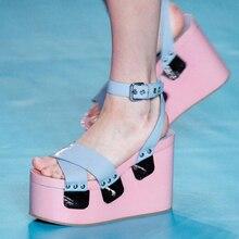 2017 Fashion High Heel Wedge Sandal Rivets Embellishments Patchwork Platform Ankle Strap Sandals Wedding Party Dress Shoes Woman