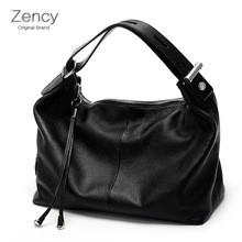 ZENCY Genuine Leather Women OL Style Shoulder Tote Bags Real Leather Handbags For Ladies Female Girl Shopping Bags