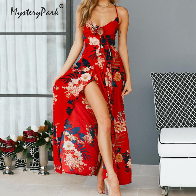 a0e05dc7c06ff US $18.74 |MysteryPark Girl Red Floral Print Sexy Lace Up V Neck Women Maxi  Dresses Summer Split Backless Beach Long Vestidos Boho Dress-in Dresses ...