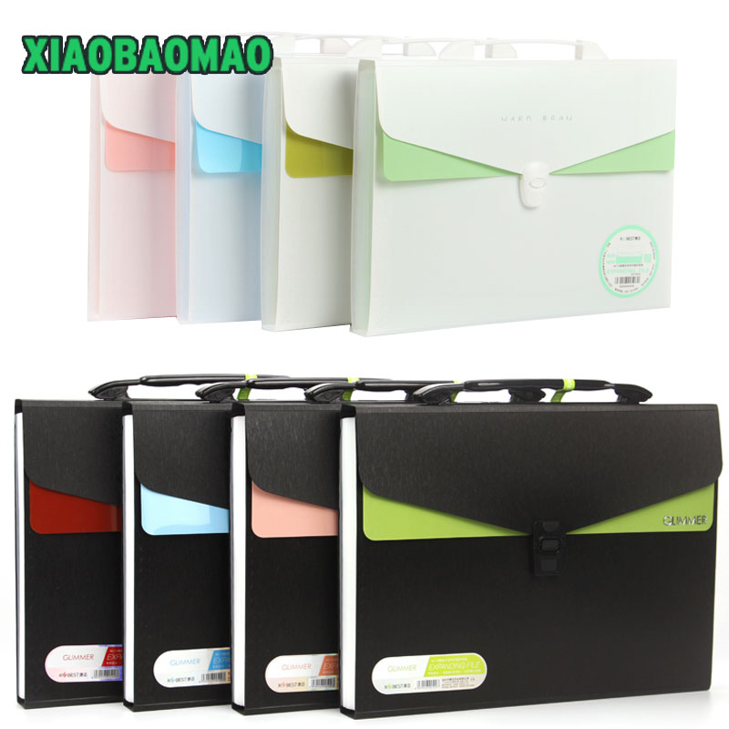 A4 expanding wallet with sticker for school kid office file document organizer stationery accordion folder A4 document file bag a4 file folder bag expanding wallet plastic file organizer a4 rainbow document bag fichario escolar the office school supplies
