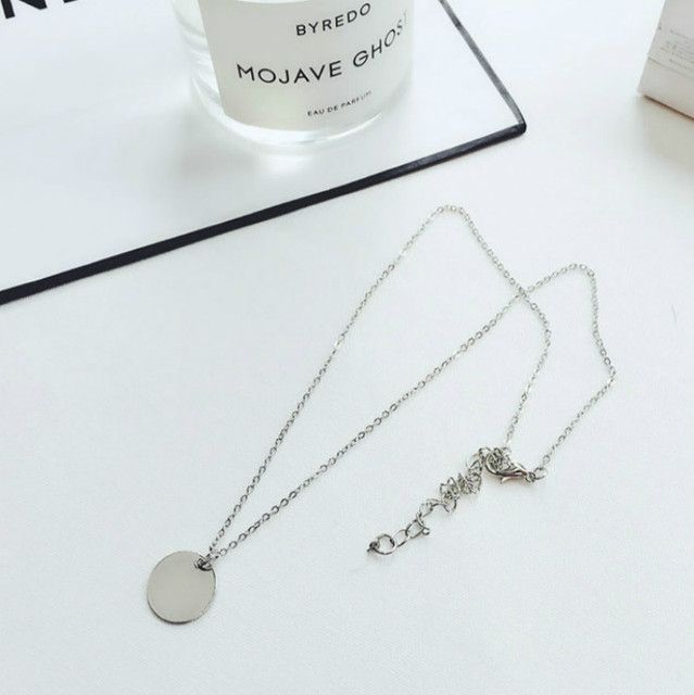 Punk Silver Gold Color Coin Necklace Dainty Disc Pendant Necklace Minimalist Gold Coin Layering Necklace Everyday Jewelry 4