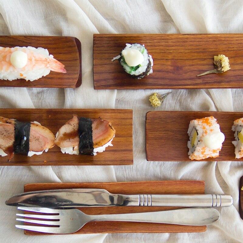 Деревянный поднос для суши пельменей, прямоугольная тарелка, салатные блюда для хлеба-1
