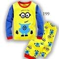 2016 pijamas das Crianças set Primavera & outono moda dos desenhos animados do bebê roupas menino definir 100% algodão Menino pijamas das Crianças Sleepwear