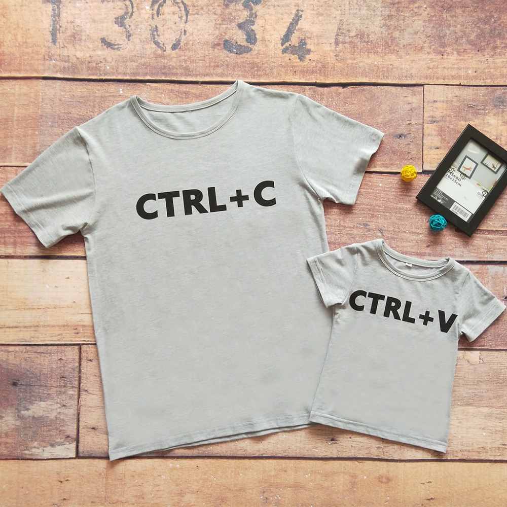 "Babyinstar Father & Me Հագուստի զգեստի համադրող Cute Print ""Ctrl C + Ctrl V"" Pattern T-shirt Family Wear 2018 Summer Family Look"
