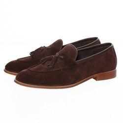 حذاء رجالي جديد من الجلد البني مُزين بشرابة مناسب للحفلات الراقصة من جلد الغزال حذاء رجالي كاجوال حذاء بدون كعب مقاس 6.5-13