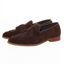 Buy New British Style Men Brown Tassel Loafers Slippers Handmade Men's Flat Genuine Leather Shoes Fashion Mens Moccasins Size US7-14 directly from merchant!