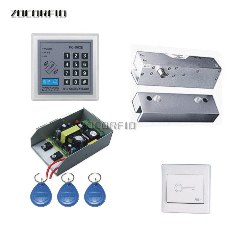 Bricolage porte en verre 125 KHZ RFID clavier porte système de contrôle d'accès kit/serrure électrique + alimentation + interrupteur + 10 pièces clé cartes