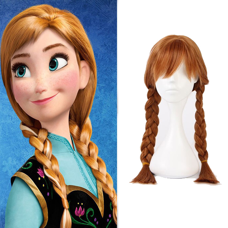New High quality Anna Princess Cosplay Wig Anime Halloween Play Wig Party Stage Costume Hair Light brown Free Shipping lolita princess roll split cosplay costume wig 65cm chip on synthetic cos hair free shipping