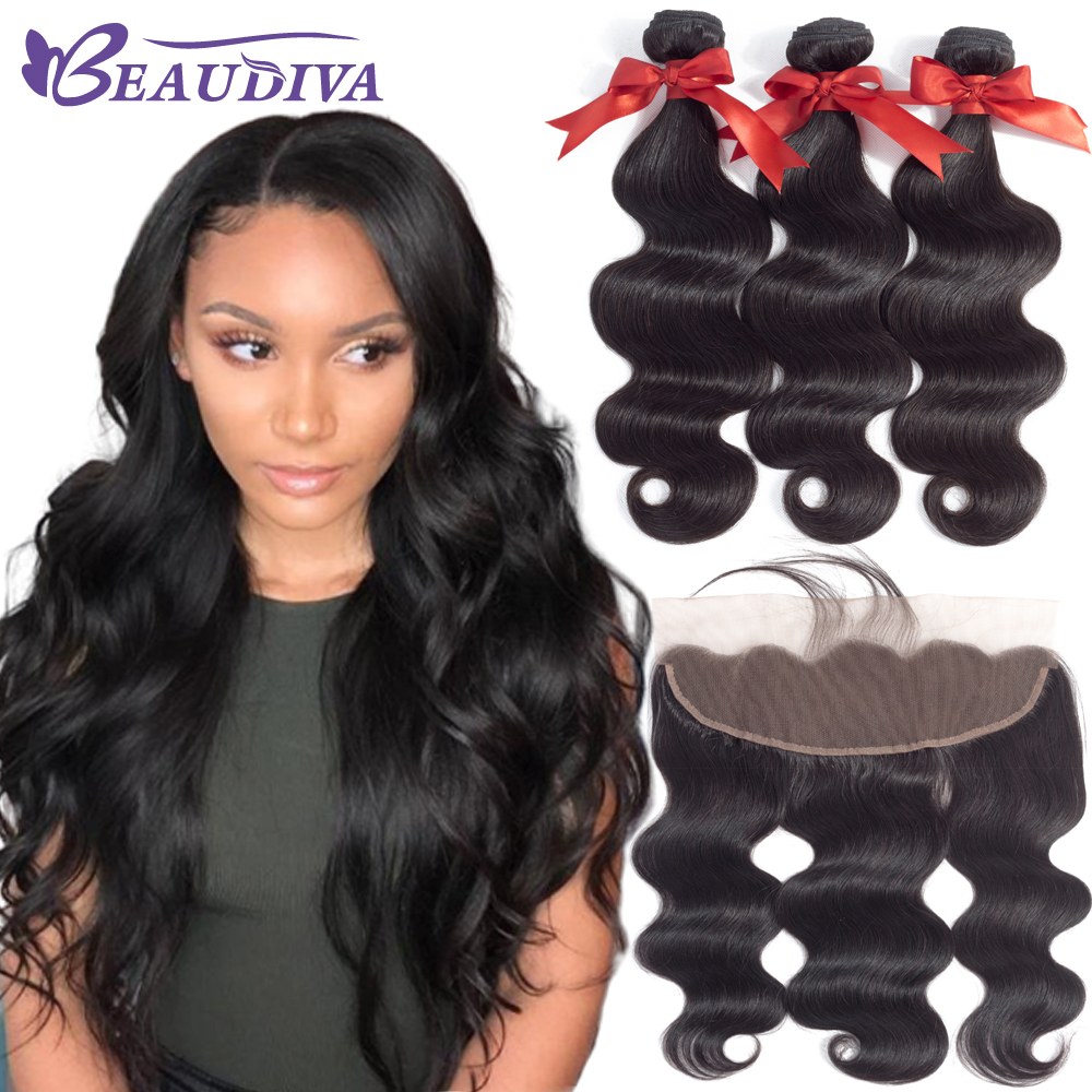 BEAUDIVA Hair Brazilian Body Wave 3 Bundles With Frontal Closure Brazilian Hair Weave Bundles With Frontal
