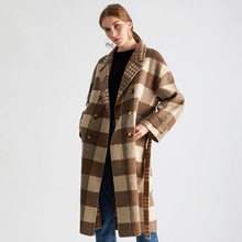 Shuchan Wool Blend Womens Coats Autumn Winter 2019 New Items Plaid Adjustable Waist Double Breasted Wide-waisted Long Coat Women