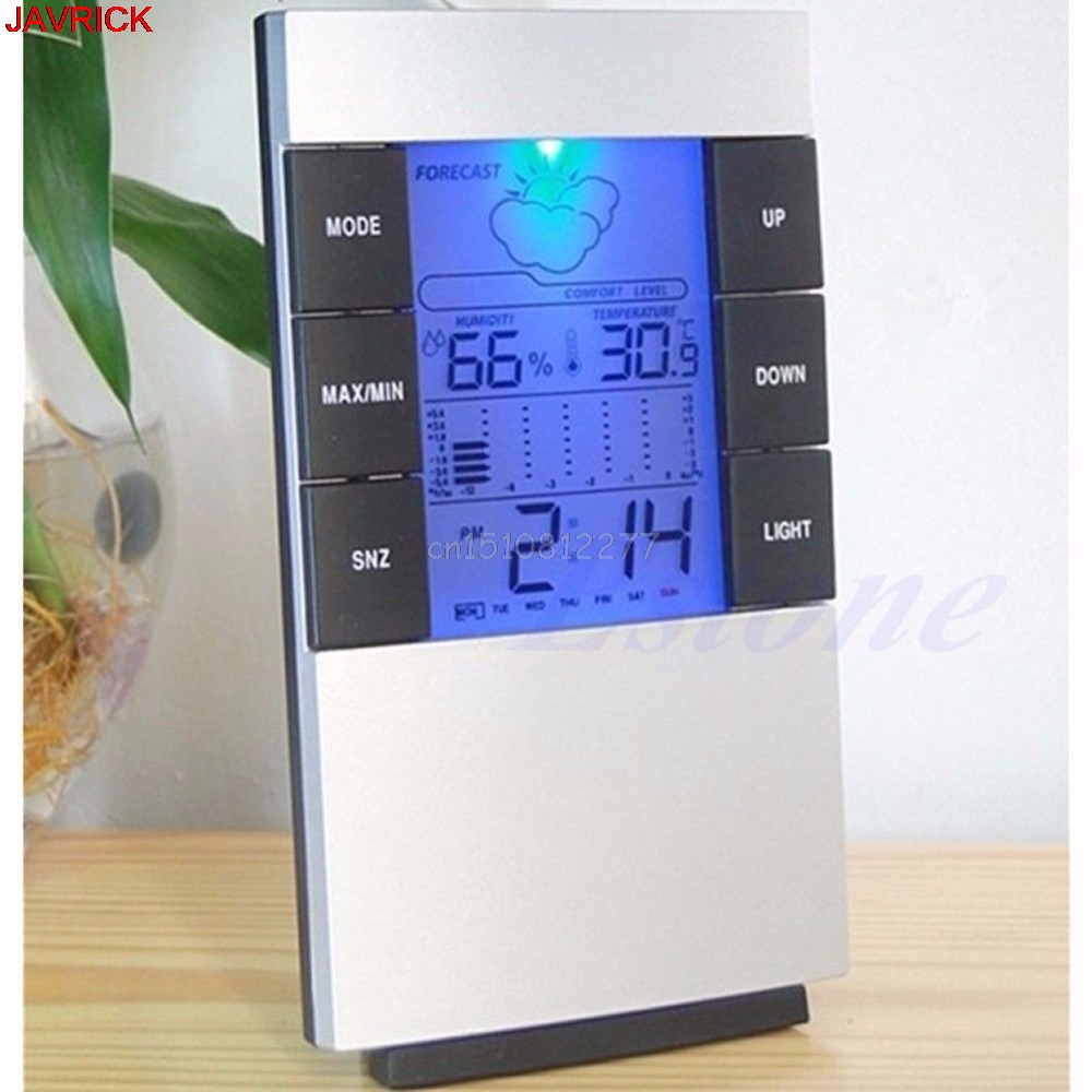Indoor Hygrometer Weather Forecast Clocks Max/Min Temp Humidity Record Chime #H0VH#