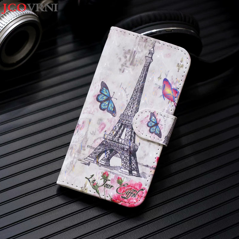 JCOVRNI 3D printing oil painting pattern mobile phone holster for iphone Xr xs xsmax with card