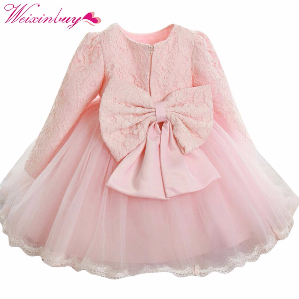 2017 Autumn New Elegant Kids Girls Dress Long Sleeve Bowknot Lace Flower Princess Wedding Party Dresses 0-6Y M2 elegant m