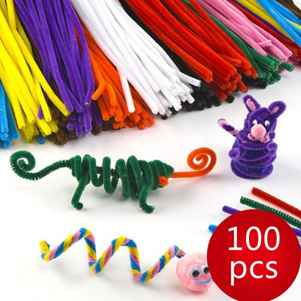100Pcs Kids Child Craft Plush Sticks Handmade Art DIY Materials Shilly Stick Toys Children's Educational DIY Toys For Children