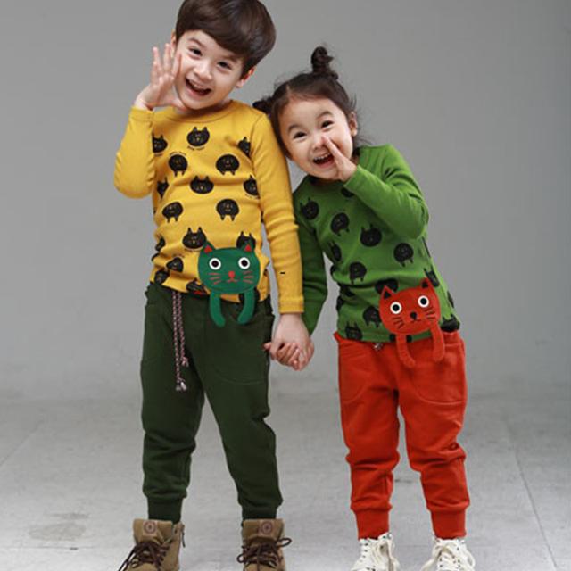 Los niños Ropa de Otoño Del Bebé Girls & Boys de Manga Larga de la Historieta Camisetas de Algodón de Moda Camiseta de Los Niños Del Bebé Tops 2-7Y Ropa Del Niño