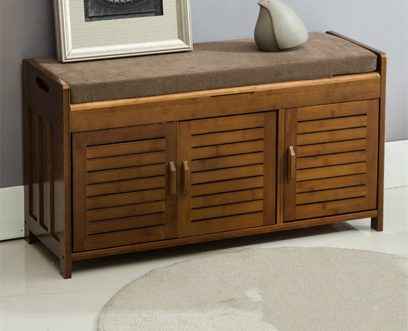 Natural Bamboo Shoe Cabinet Entryway Shoe Storage