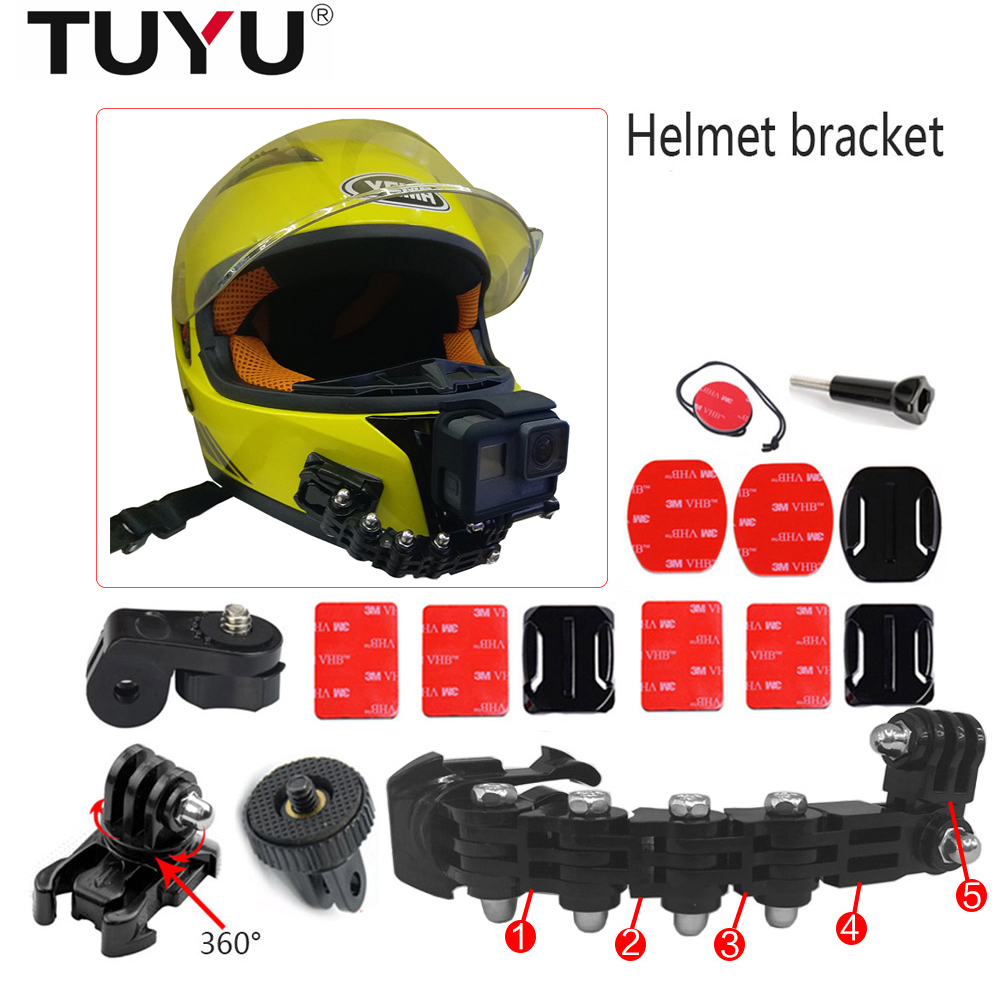 TUYU Gopro accessories 4 ways turntable buckle mounted helmet chin bracket Hero 4 5 6 millet YI 4K SJCAM SJ4000 EKEN H9 H9R