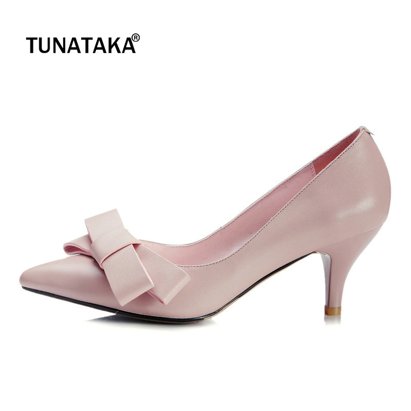 Genuine Leather Sweet Bow Knot Thin High Heel Woman Lazy Pumps Fashion Pointed Toe Dress High Heel Shoes Woman Black Pink White women genuine leather slip on pointed toe lazy shoes sweet bow knot shallow party spring autumn women pumps black pink