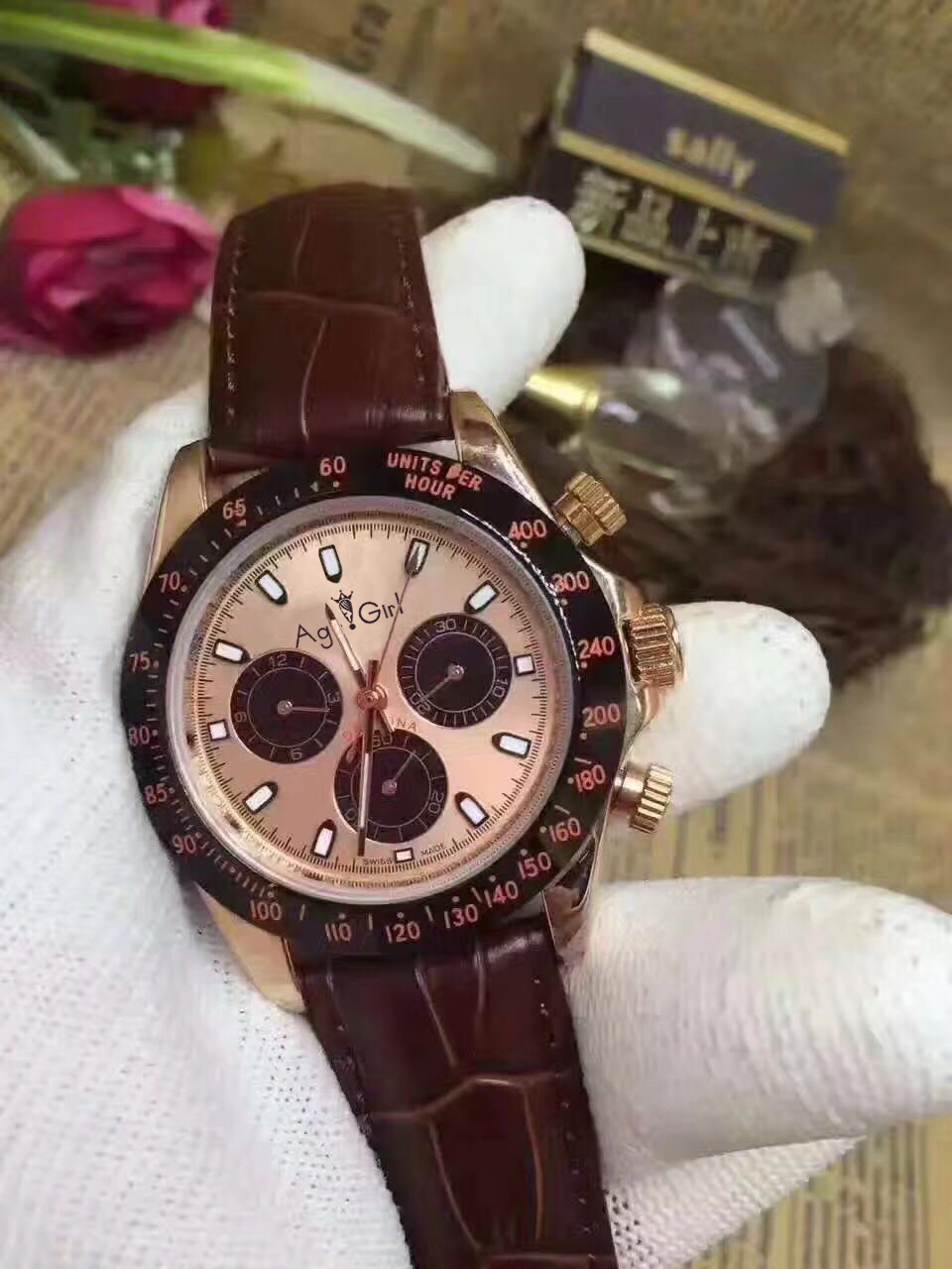 Brand New Mens Luxury Rose Gold Chocolate Ceramic Bezel Brown Leather Gents Automatic Mechanical Sapphire Watches AAA+ QualityBrand New Mens Luxury Rose Gold Chocolate Ceramic Bezel Brown Leather Gents Automatic Mechanical Sapphire Watches AAA+ Quality