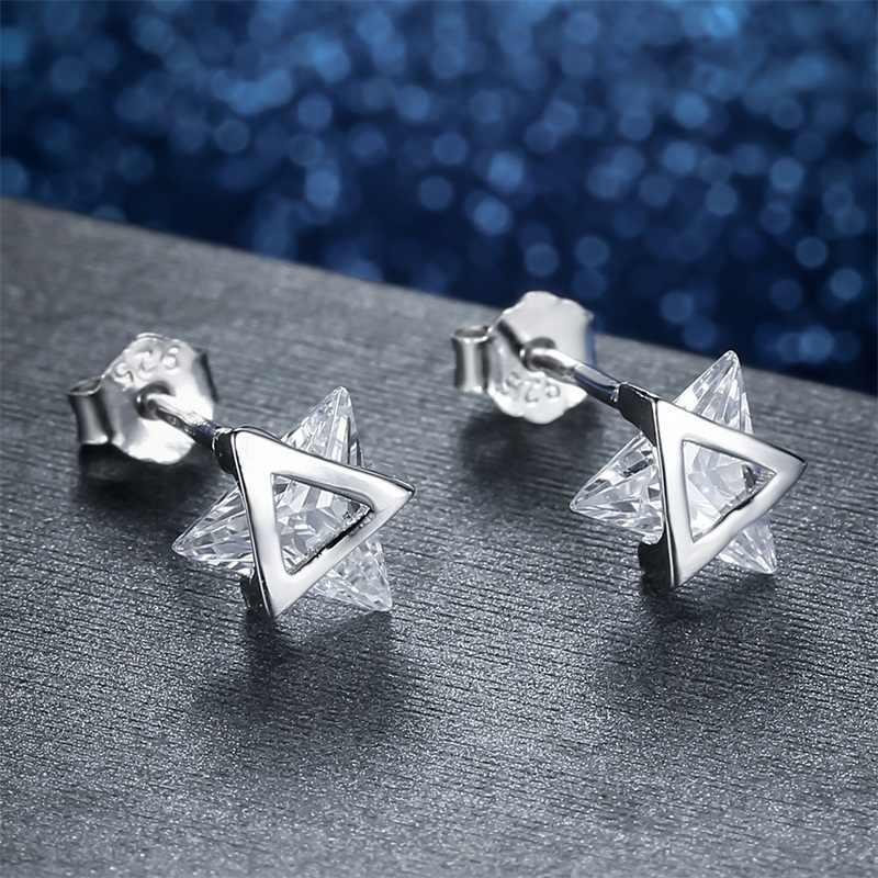 AZIZ BEKKAOUI 100% 925 Sterling Silber Einzigartige Dreieck Kristall Stud Ohrringe für Frauen 100% Echt Silber Edlen Schmuck