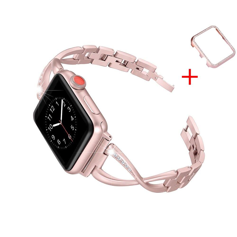 Pulsera de enlace de correa para apple watch banda 42mm/38mm/44mm/40mm Acero inoxidable diamantes la venda de reloj para iwatch 4/3/2/1 cinturón + caso
