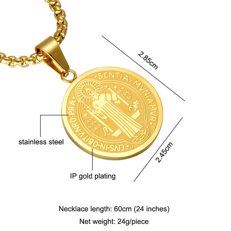 D&Z Saint Benedict Medal Pendant Necklace Gold Color Round Stainless Steel Catholic Church Cross Necklaces for Catholic Jewelry