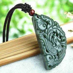 Image 4 - 100% Подвеска из натурального зеленого нефрита с резным китайским драконом ожерельлье Феникса для женщин и мужчин ювелирные изделия для влюбленных Бесплатная веревка