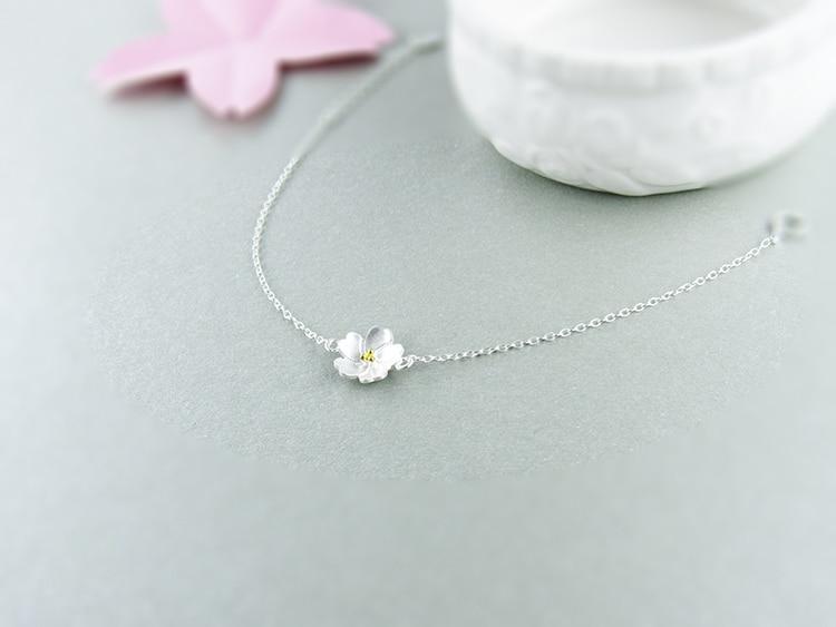 AKOLION Silver Cherry Blossoms Bracelets Charm Flower Bracelets 925 Sterling Jewelry For Girl Women 10