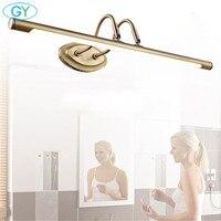 L48cm l62cm 6 Вт 10 Вт Античная бронзовая Кабинет свет светодиодный перед зеркалом свет для ванной шкафа, туалетный столик кухня vanity лампы