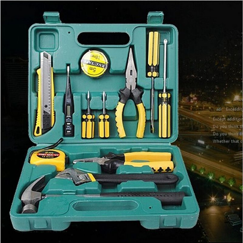 Home Accessories Tools 13 PCS/ SET Combination Tool Boxes Hammer Pliers Screwdriver Wrenches Knife Hand Work Household Tool Set купить