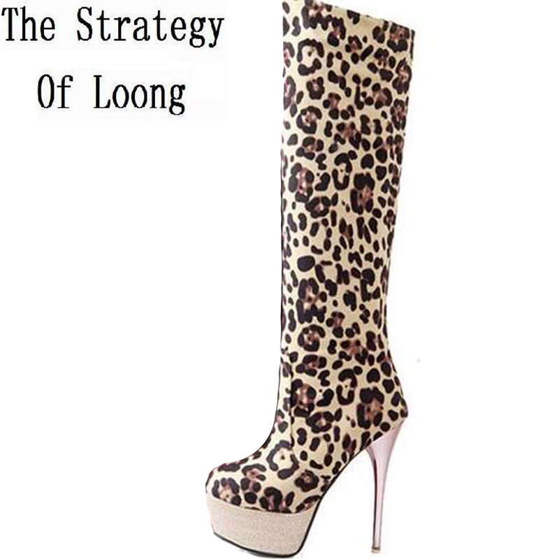 Women Winter Super High Heel Leopard Flock Sexy Over The Knee Boots Big Size 42 43 Thin High Heel Round Toe Fashion Boots стоимость