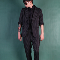 Hot New Plus Size Pinstripe Mid sleeve Suit Korean Slim Tide Suits Business Casual Blazers Jacket Hair Stylist Nightclub Dress