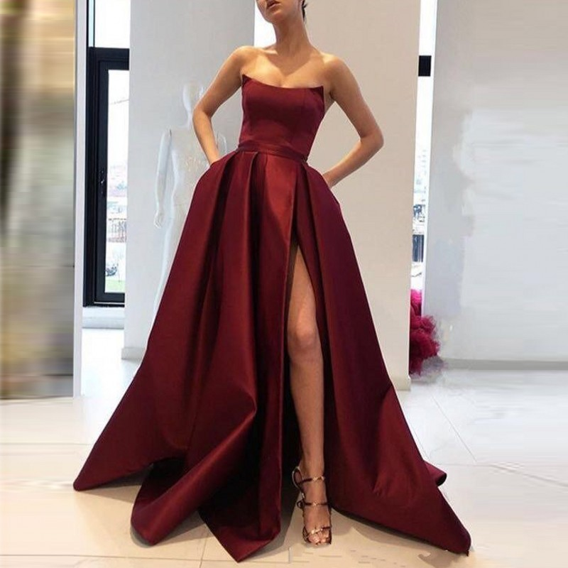 Burgundy Split Prom Gowns Pleated Satin Custom Formal Dresses Off Shoulder Evening Party Gown A Line