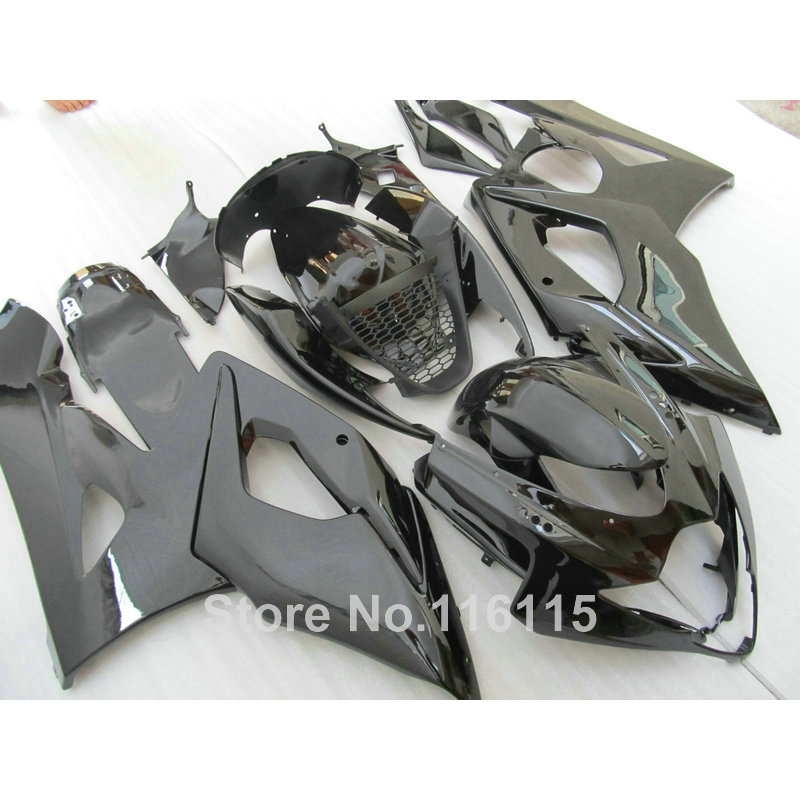 Injection Free customize fairings set for SUZUKI K5 K6 GSXR1000 2005 2006 all glossy black ABS fairing kit GSXR 1000 05 06 CP75 abs full fairing kit for suzuki injection molding k5 gsxr1000 2005 2006 red flames black fairings set gsxr 1000 05 06 yq67 cowl