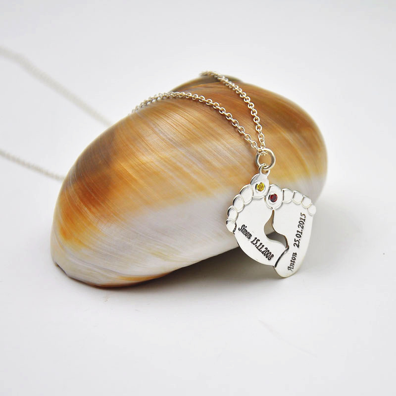 Online get cheap personalized baby feet pendant aliexpress wholesale silver baby feet necklace custom name date engraving pendent personalized birthstone twins memorial gift negle Gallery